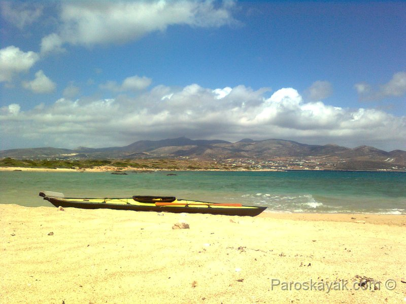 Kayak sailing in Paros Greece